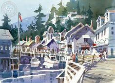 Klondike Cafe, California art by John Bohnenberger. HD giclee art prints for sale at CaliforniaWatercolor.com - original California paintings, & premium giclee prints for sale