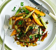 Roast thick slices of aubergine with miso, garlic and ginger, then serve with chunky sweet potato wedges for a filling, vegetarian dinner