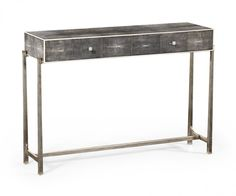 Jonathan Charles, Shagreen Console Table Black Finish with Silver Base 494325