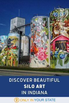 If you're looking for a the best roadside attraction in Indiana, put this giant silo mural on your list. Enjoy beautiful works of art, right from your car. | Easy Road Trip | Art Exhibit | Free | Things To Do | Family Friendly