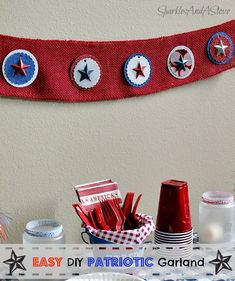 Fourth of July Crafts: DIY Patriotic Garland & Picnic Bucket - Sparkles and a Stove