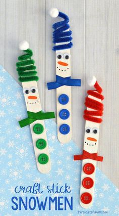 This Craft Stick Snowman with a fun spiral pipe cleaner hat is a really cute craft kids can make this winter and looks lovely hanging from the Christmas tree. #preschoolcrafts