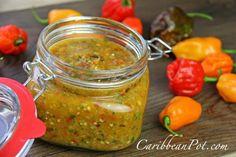 Traditional Caribbean Peppersauce (hot Sauce) Recipe. With Hot Pepper, Garlic, Chopped Cilantro, Sea Salt, White Vinegar