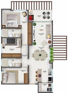 3d House Plans, Model House Plan, House Layout Plans, Home Design Floor Plans, Home Building Design, Small House Plans, House Layouts, Sims 4 House Design, Duplex House Design