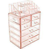 Sorbus Acrylic Cosmetic Makeup and Jewelry Storage Case Display - Spacious Design - Great for Bathroom, Dresser, Vanity and Countertop (3 Large, 4 Small Drawers, Pink) (scheduled via http://www.tailwindapp.com?utm_source=pinterest&utm_medium=twpin)