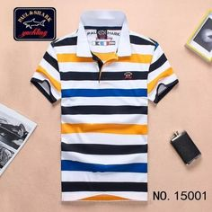 Paul Shark Striped Polo Shirts Short Sleeved Navy Blue Yellow White   men spoloshirts  men s  polo  shirts  design 24c87410027