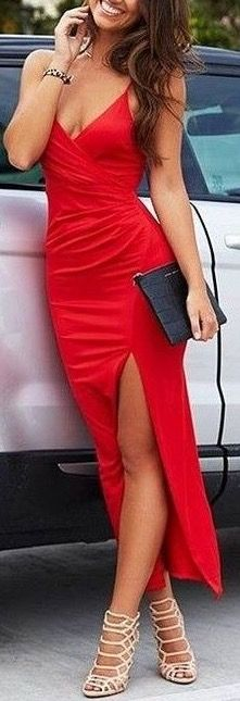 Absolutely gorgeous red double slit maxi dress
