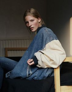 oversized denim varsity.