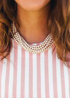 Pearls and stripes.