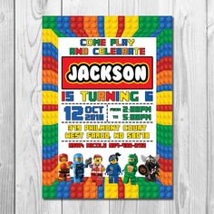 Please read full description before ordering Thank you Please note that this listing is for a personalized birthday invitation in DIGITAL PRINTABLE FILE only NO PHYSICAL ITEM will be shipped Lego Birthday Invitations, Lego Birthday Party, Birthday Parties, 5th Birthday, Birthday Cakes, Birthday Ideas, Personalized Invitations, Digital Invitations, Invitation Ideas