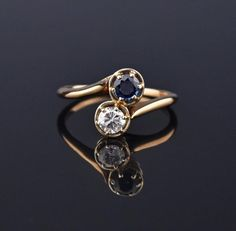 Sapphire and Diamond Bypass Engagement Ring, Toi et Moi