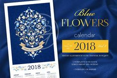 2018. Blue Flowers Calendar Vol.1 by O'Gold! on @creativemarket