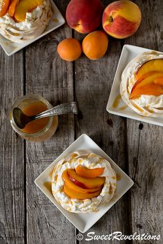 Brown sugar pavlovas with peaches and apricots.