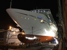 latest photos of the carnival Dream during its two-week dry dock refurbishment in Freeport, Bahamas.