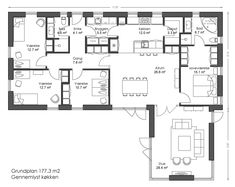 153 m² Vinkelhus - Bygget af Bernt Nielsen Huse A/S Bungalow, House Drawing, River House, Building A House, Building Homes, Facade, Small Spaces, Sweet Home, Floor Plans