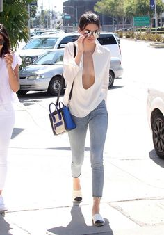 Celebrity Style - Kendall Jenner Wears Plunging Neckline Top & Skinny Jeans