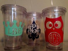 These 16oz acrylic tumblers are made to order with quality vinyl. Tumblers can be customized with names, monograms, and colors! These are great