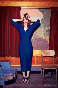 Bryce Dallas Howard wears a royal blue gown by Zero + Maria Cornejo and Rupert Sanderson black suede heels