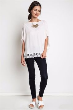 Oversized, Cap Dolman Sleeves Top with Lace Hem