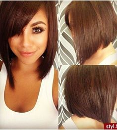 21 Adorable Asymmetrical Bob Hairstyles for 2016: #8. Longer asymmetrical bob with side-swept bangs and side part