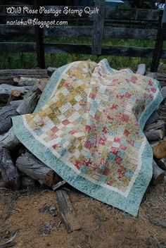 "Wild Rose Postage Stamp Quilt. By Julie Sebire of ""Narioka"" Australia. Hello again, I hope you enjoy making my second project for the Bake Shop as much as I did. You can also visit me at my blog na..."
