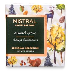 Made with pure vegetable soap, organic olive oil and shea butter, Mistral's Almond Grove Soap is a seasonal delight. This bar is triple-milled, so it creates a rich lather and lasts a long time. This soap bar smells like an crisp, autumn stroll through an almond grove and is created with perfume from Grasse, France.