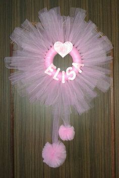 Items similar to Stitchable outdoor wreath for baby birth on Etsy - Ghirlanda Fabric Wreath, Tulle Wreath, Diy Wreath, Tulle Crafts, Pom Pom Crafts, Outdoor Wreaths, Plastic Canvas Christmas, Baby Birth, Diy For Girls