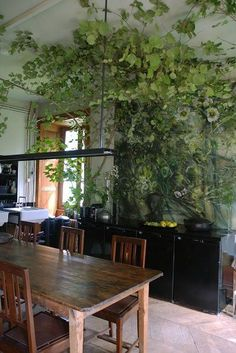 Plant art & reality merge at the home of Claire Basler. In a similar vein, imagine growing ivy along decorative posts and beams of an indoor wall and ceiling.