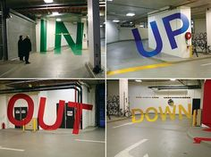 "It's tough to go the wrong way in this parking garage. Graphic designer Axel Peemoeller used lines of color and a 3-D techinque to form directional words, such as ""Up"" and ""Out"" as you drive toward them. Is that cool or what?! Eureka Car Park, Melbourne, Australia."