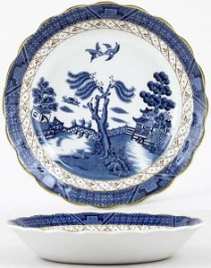 Booths Real Old Willow Soup Plate  sc 1 st  Pinterest & Booths Old Willow Dinner Plate in Blue and White China with Gold ...