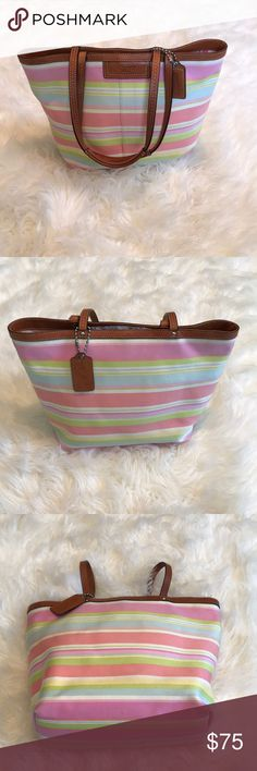 Authentic coach handbag Multicolored authentic tote bag. Perfect colors for spring and summer. Leather accents are camel colored with silver tone hardware. Bag is gently used, signs of wear are shown in pictures. There are pen marks on the inside. Coach Bags Totes