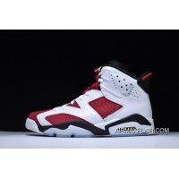 77dd5aa0e4fa57 Free Shipping Nike Air Jordan 6 Retro White Carmine-Black Mens Sneakers Buy