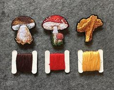 Items similar to Hand embroidery mushroom brooches, amanita art brooch, chanterelle brooch, porcini pin, cep brooch on Etsy Embroidery Jewelry, Hand Embroidery Patterns, Diy Embroidery, Cross Stitch Embroidery, Embroidery Designs, Diy Broderie, Art Textile, Embroidery Techniques, Kids Crafts