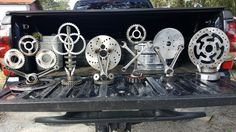 Collection of trophies for a motorcycle show. Almost all motorcycle parts. acroclassick69@aol.com