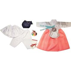 White Silver Stamping and Pink - Girl Dol Hanbok Set - 7 Pieces