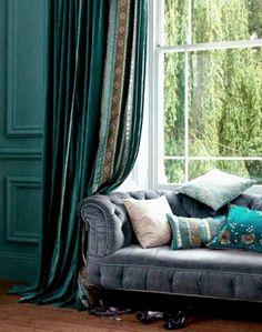 Blue bohemian curtain