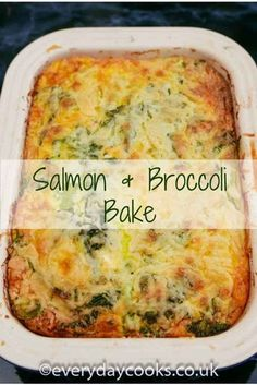 Salmon and Broccoli Bake is a quick and easy, low carb meal. - Salmon and Broccoli Bake is a quick and easy, low carb meal. Everything you need for dinner in one - Quiche Recipes, Veggie Recipes, Casserole Recipes, Seafood Recipes, Vegetarian Recipes, Cooking Recipes, Healthy Recipes, Cooking Tips, Salmon And Broccoli