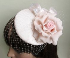 Cocktail Hat Wedding Hat Pink Fascinator by LillibetsMillinery, Etsy