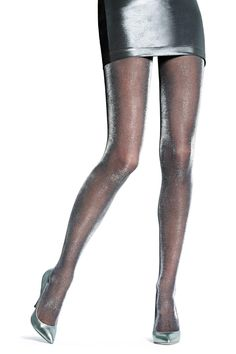 OROBLU Precious Tights Diamonds - Precious tights in 40 denier. Semi-sheer tights for a bright effect. The come in Gold or Black/Silver. Flat seams invisible under clothing. With gusset. Wear it on a glamorous night out or under a leather skirt for a great rock effect. Shop at www.fashion-tights.net #tights #pantyhose #hosiery #nylons #legs