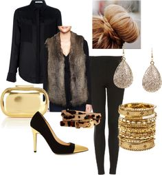 Faux Fur vest - dressed up for an evening out