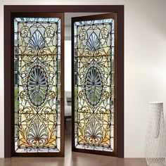 Door Wall Sticker *Modern Stained Glass Window*/ Self-Adhesive Vinyl Decal Poster Mural / Self-Adhesive Wallpaper Door Wall, Decor, Door Stickers, Glass Front Door, Door Design, Wall Sticker, Stained Glass Door, Vinyl Doors, Window Design