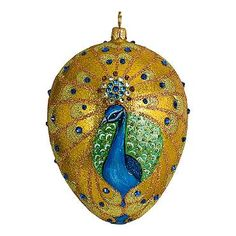 Glitterazzi International Peacock Jeweled Egg Ornament Our collectible Glitterazzi Egg Ornament from Joy to the World was created with the utmost attention to quality and detail. The finest artisans in Poland individually mouth blow and hand paint each ornament, achieving new levels of innovation and artistic integrity in their designs.