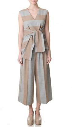 Tibi's Horizon Stripe Edie Culottes is a new take on the stylish culotte. Pair the neutral hued pant with an essential cami or finish the look with the matching top.