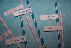 Paper Straws 26 Gender Reveal Party Pack 13 Powder by shabbygirl2, $4.75
