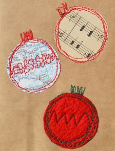 card christmas ornaments up-cycled / recycled / by GabiDesignLLC