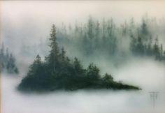 Island Veil - TERRI HEINRICHS - charcoal graphite and pastel layered original art