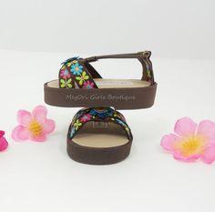 American Girl 18 doll sandals shoes Dahlias brown by MegOriGirls, $10.00