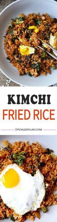 Kimchi Fried Rice - Kimchi Fried Rice - Whip up this quick &... Kimchi Fried Rice - Kimchi Fried Rice - Whip up this quick & easy kimchi fried rice in less than 15 minutes! The kale adds a boost of nutrients to this already healthy & scrumptious recipe! e