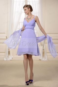 $ 72.99 Fit Light Sky Blue V- Neck Thigh Length Bridesmaid Dress