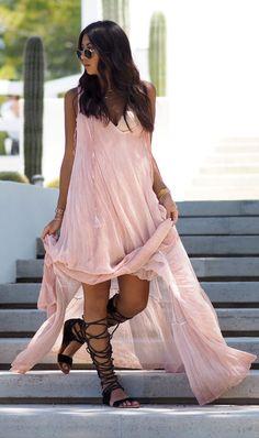 Pink Maxi Dress Boho Style